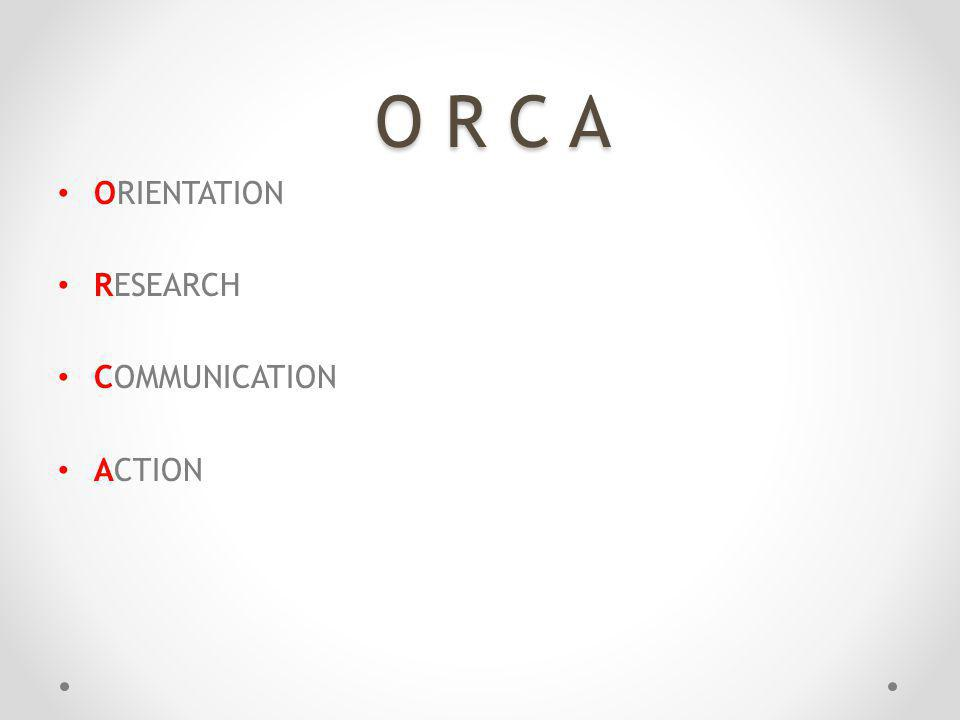 O R C A ORIENTATION RESEARCH COMMUNICATION ACTION