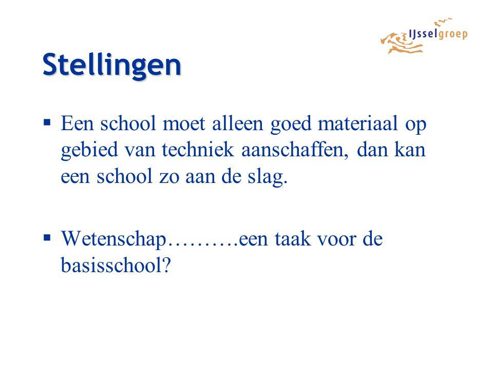Stellingen Een school moet alleen goed materiaal op gebied van techniek aanschaffen, dan kan een school zo aan de slag.