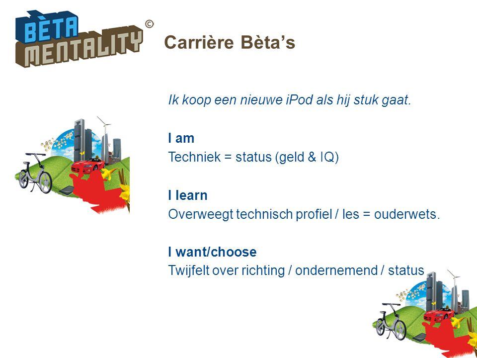 Carrière Bèta's Ik koop een nieuwe iPod als hij stuk gaat. I am