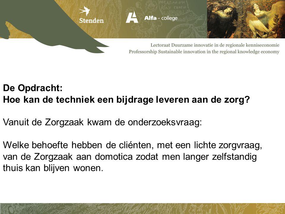 De Opdracht: Hoe kan de techniek een bijdrage leveren aan de zorg Vanuit de Zorgzaak kwam de onderzoeksvraag:
