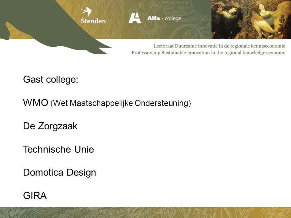 Gast college: WMO (Wet Maatschappelijke Ondersteuning) De Zorgzaak. Technische Unie. Domotica Design.