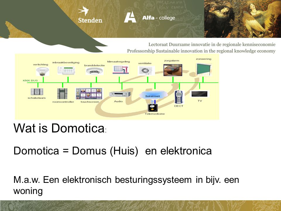 Wat is Domotica: Domotica = Domus (Huis) en elektronica