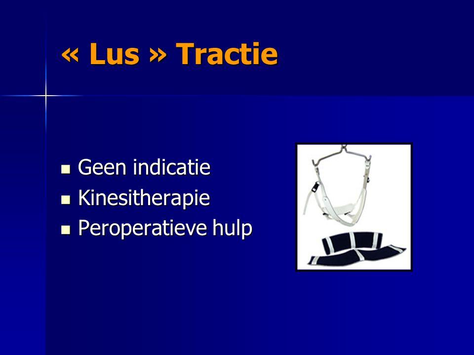 « Lus » Tractie Geen indicatie Kinesitherapie Peroperatieve hulp