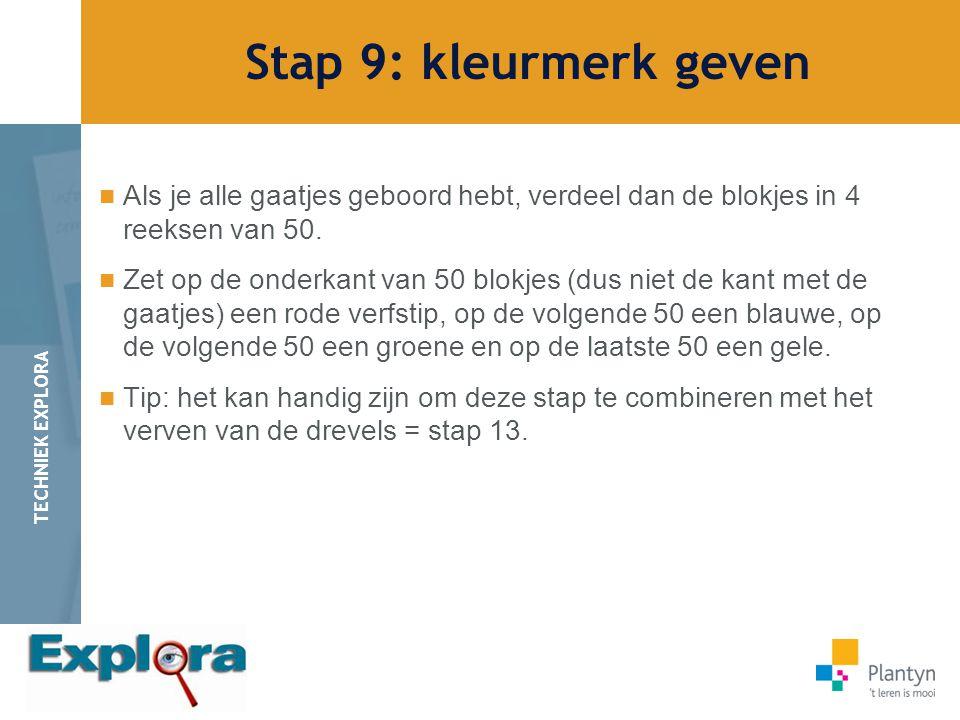 Stap 9: kleurmerk geven Als je alle gaatjes geboord hebt, verdeel dan de blokjes in 4 reeksen van 50.