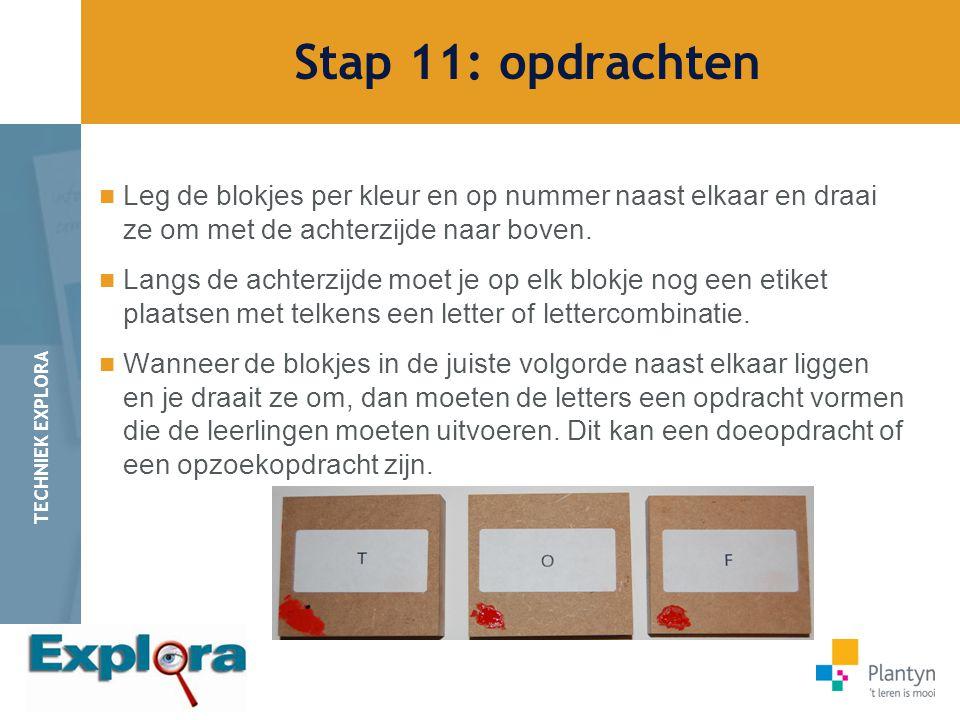 Stap 11: opdrachten Leg de blokjes per kleur en op nummer naast elkaar en draai ze om met de achterzijde naar boven.