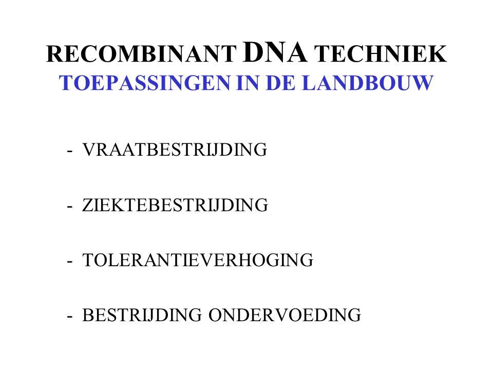RECOMBINANT DNA TECHNIEK TOEPASSINGEN IN DE LANDBOUW
