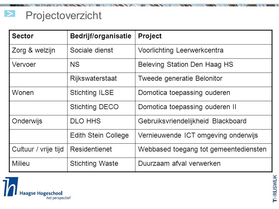 Projectoverzicht Sector Bedrijf/organisatie Project Zorg & welzijn