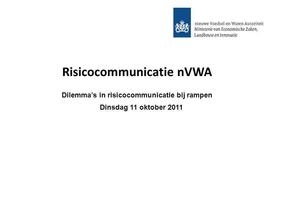 Risicocommunicatie nVWA Dilemma's in risicocommunicatie bij rampen