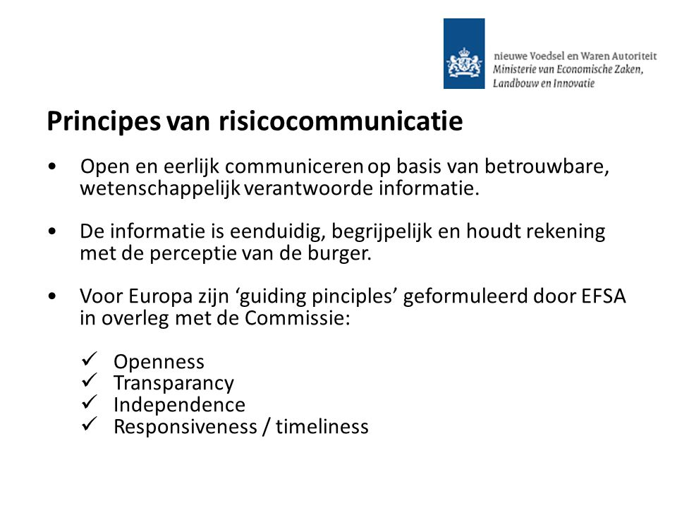 Principes van risicocommunicatie