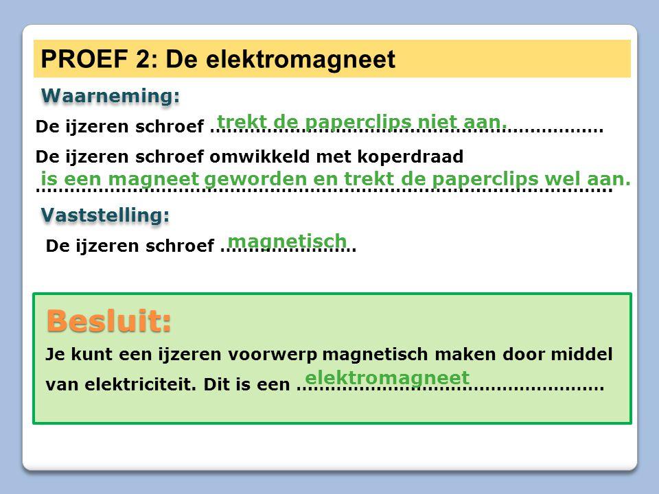 Besluit: PROEF 2: De elektromagneet Waarneming: