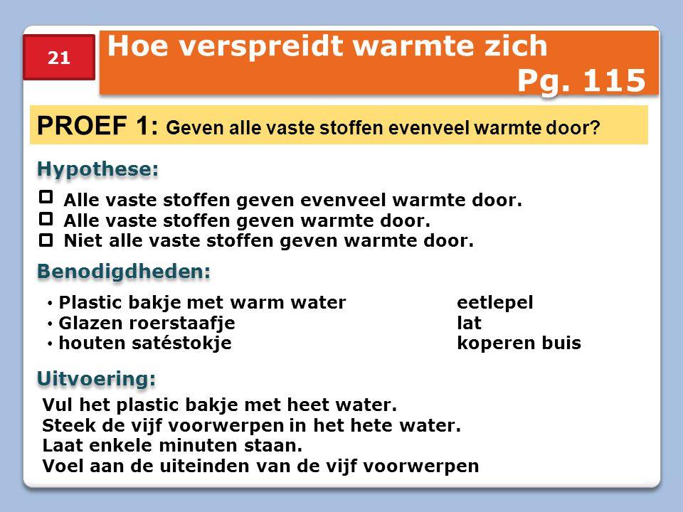 Pg. 115 Hoe verspreidt warmte zich