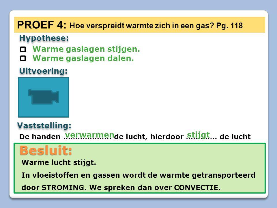 Besluit: PROEF 4: Hoe verspreidt warmte zich in een gas Pg. 118