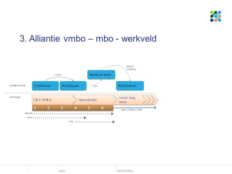 3. Alliantie vmbo – mbo - werkveld