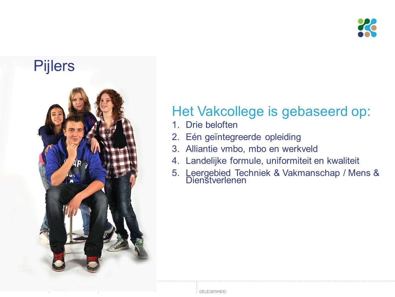 Pijlers Het Vakcollege is gebaseerd op: Drie beloften