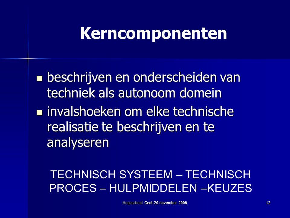 Kerncomponenten beschrijven en onderscheiden van techniek als autonoom domein.