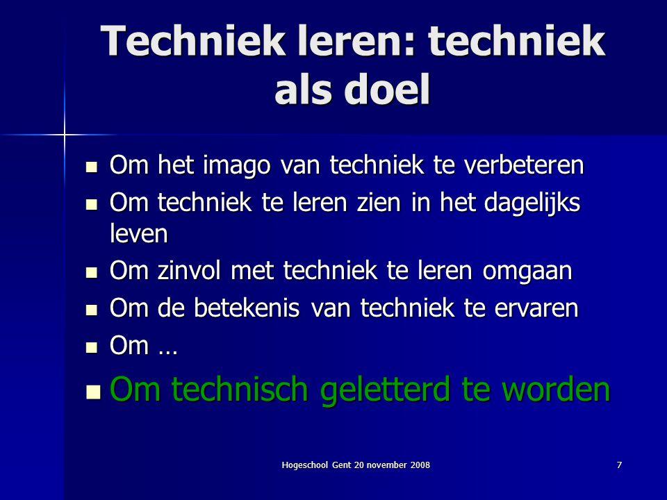 Techniek leren: techniek als doel