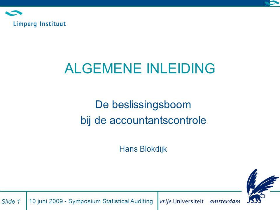 De beslissingsboom bij de accountantscontrole Hans Blokdijk