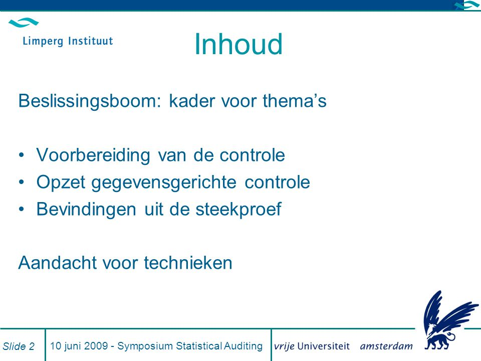 10 juni 2009 - Symposium Statistical Auditing