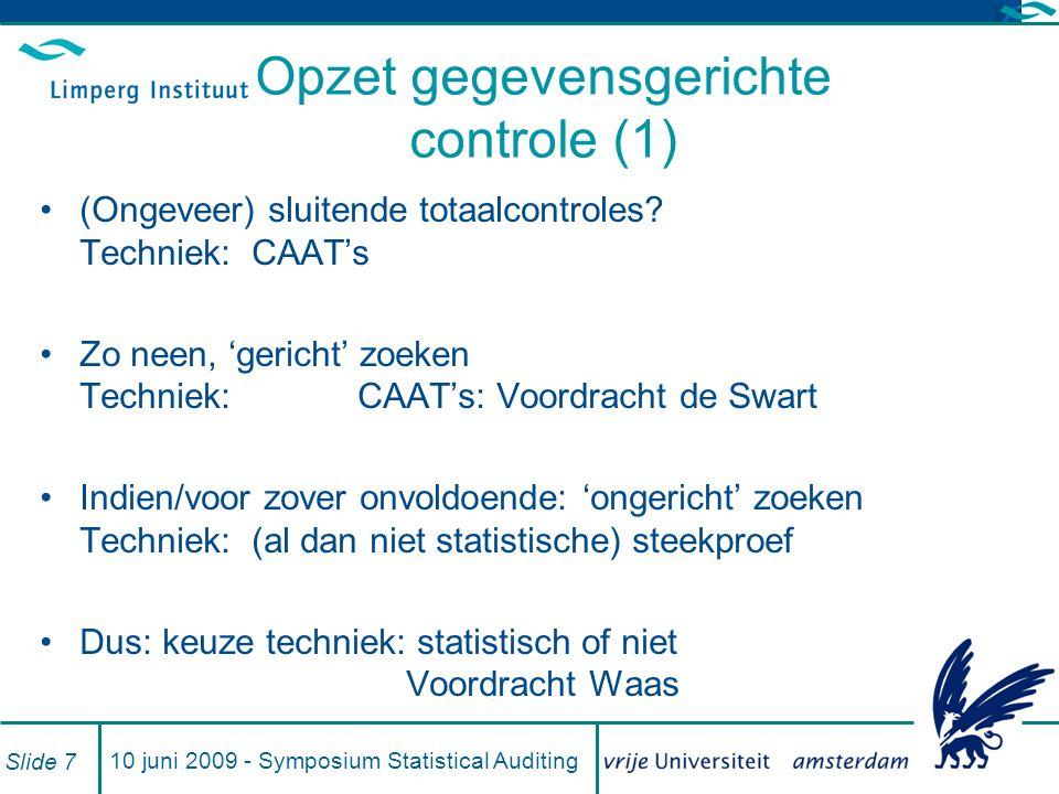 Opzet gegevensgerichte controle (1)