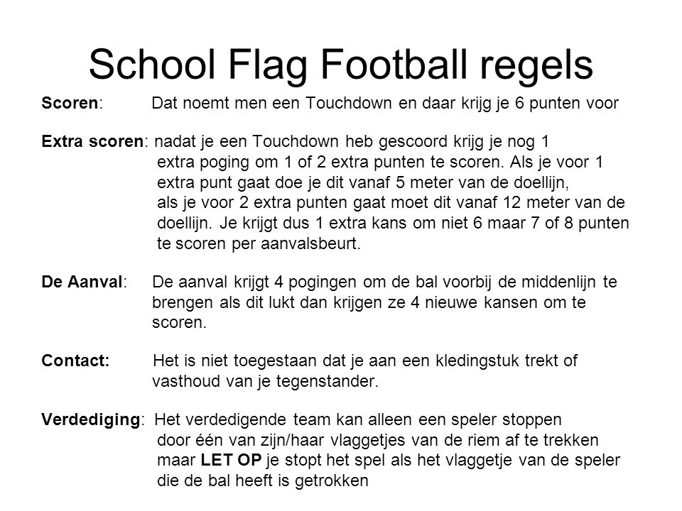 School Flag Football regels
