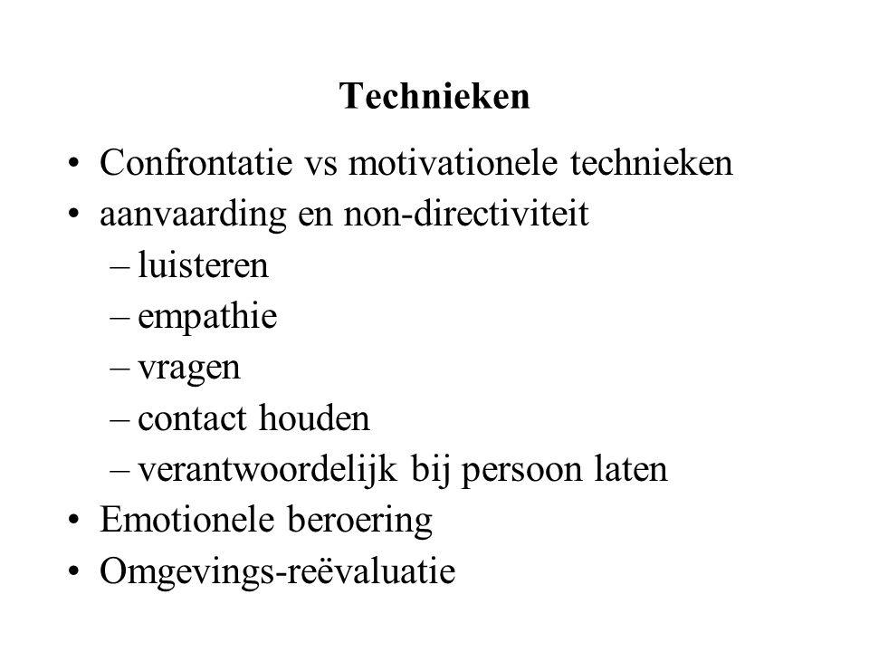 Technieken Confrontatie vs motivationele technieken. aanvaarding en non-directiviteit. luisteren.