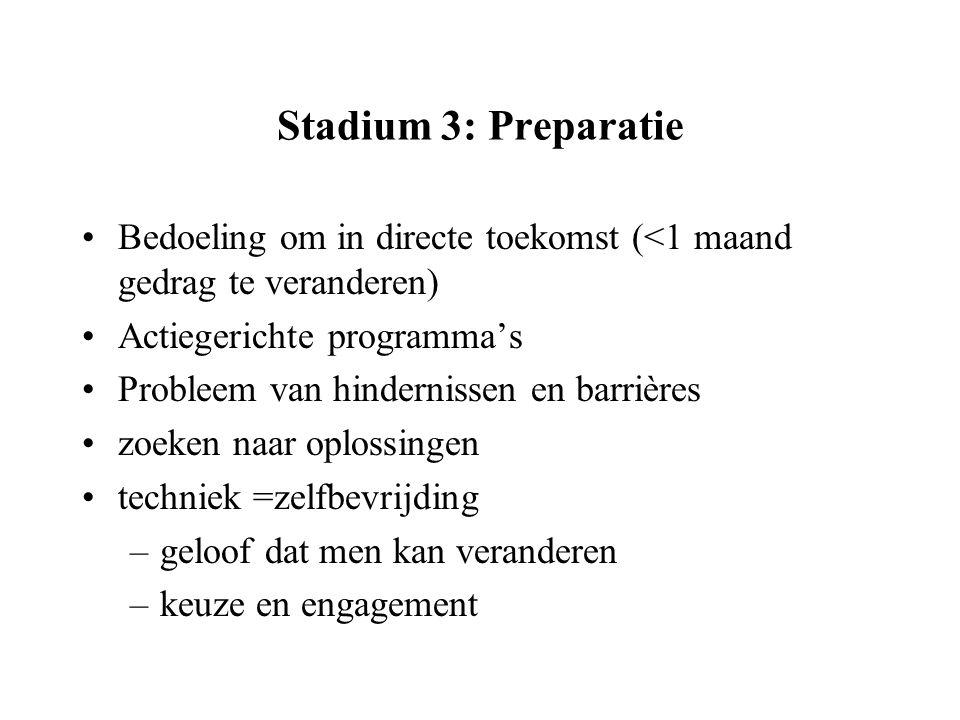 Stadium 3: Preparatie Bedoeling om in directe toekomst (<1 maand gedrag te veranderen) Actiegerichte programma's.