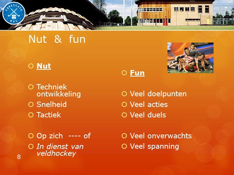 Nut & fun Nut Techniek ontwikkeling Snelheid Tactiek Op zich ---- of