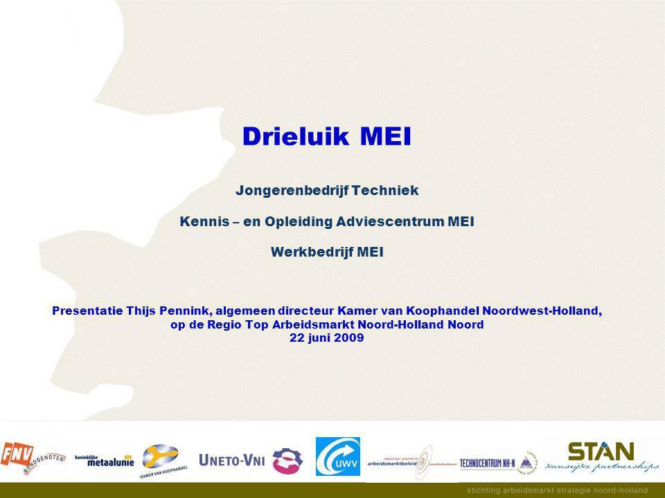 Drieluik MEI Jongerenbedrijf Techniek Kennis – en Opleiding Adviescentrum MEI Werkbedrijf MEI Presentatie Thijs Pennink, algemeen directeur Kamer van Koophandel Noordwest-Holland, op de Regio Top Arbeidsmarkt Noord-Holland Noord 22 juni 2009
