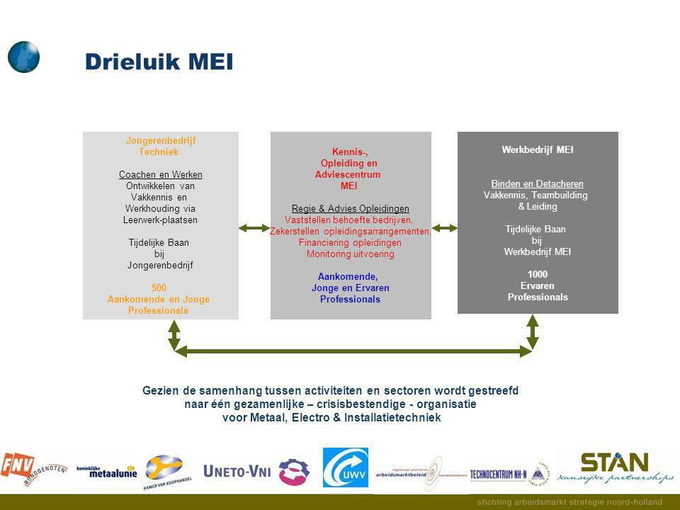 Drieluik MEI Jongerenbedrijf. Techniek. Coachen en Werken. Ontwikkelen van. Vakkennis en. Werkhouding via.
