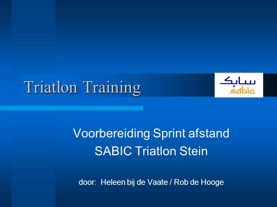 Triatlon Training Voorbereiding Sprint afstand SABIC Triatlon Stein
