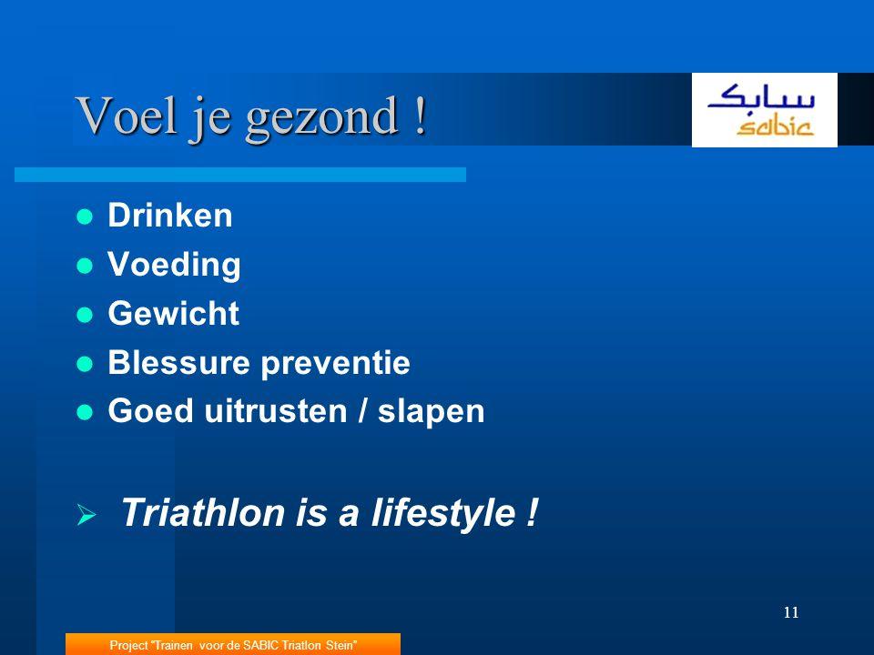 Voel je gezond ! Triathlon is a lifestyle ! Drinken Voeding Gewicht