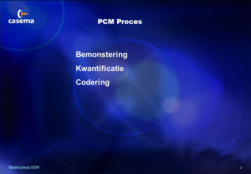 PCM bemonstering Bemonsterings-frequentie : 4000 x 2 = 8000 Samples/sec. Basiscursus SDH