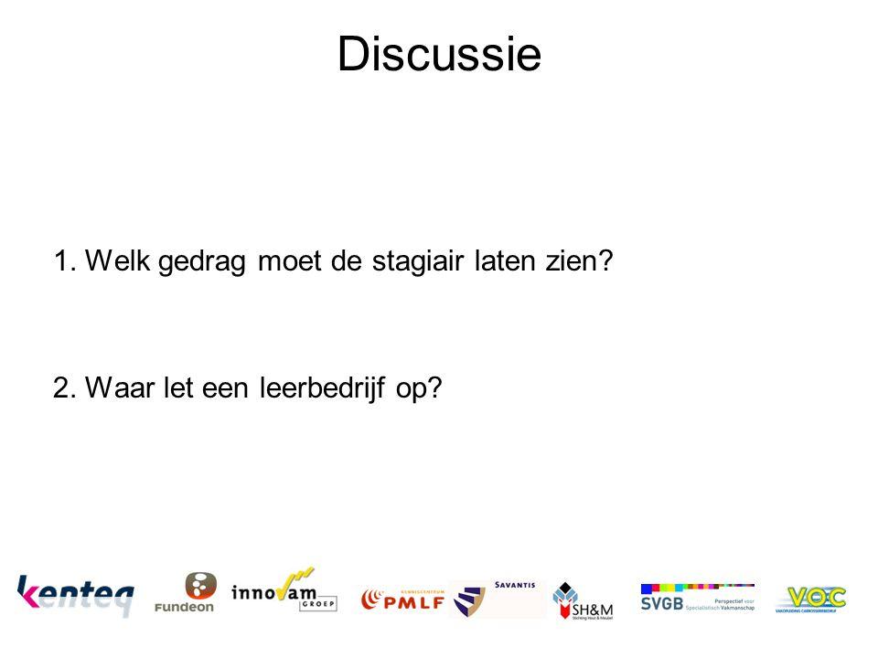 Discussie 1. Welk gedrag moet de stagiair laten zien
