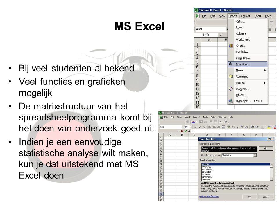 MS Excel Bij veel studenten al bekend