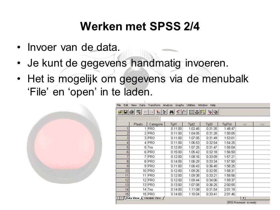Werken met SPSS 2/4 Invoer van de data.