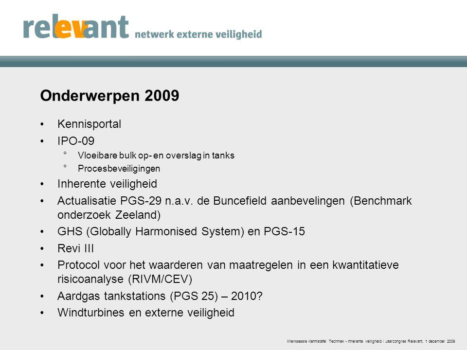 Onderwerpen 2009 Kennisportal IPO-09 Inherente veiligheid