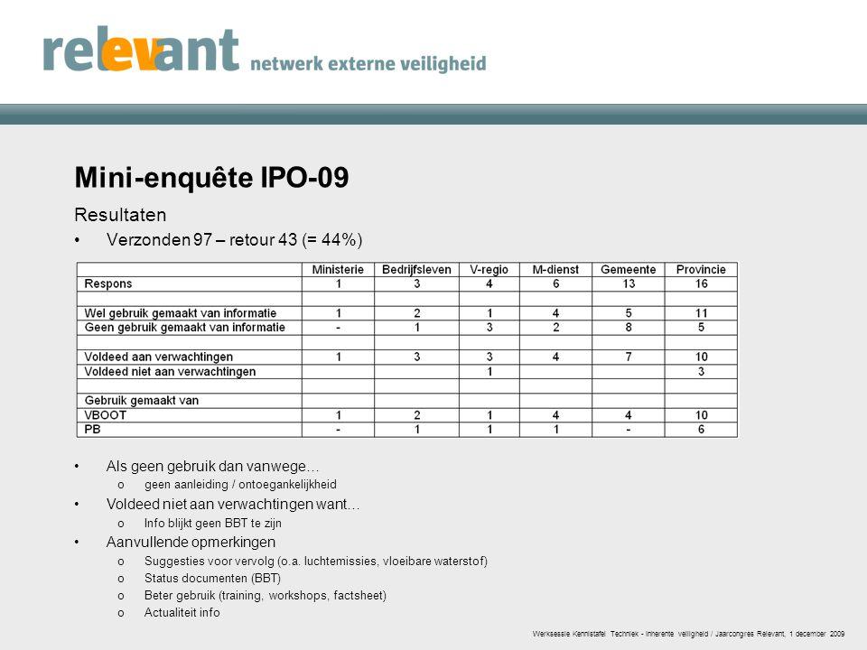 Mini-enquête IPO-09 Resultaten Verzonden 97 – retour 43 (= 44%)