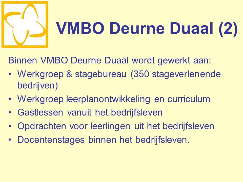 VMBO Deurne Duaal (2) Binnen VMBO Deurne Duaal wordt gewerkt aan: