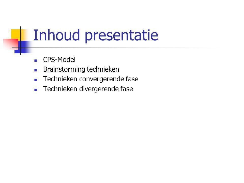 Inhoud presentatie CPS-Model Brainstorming technieken