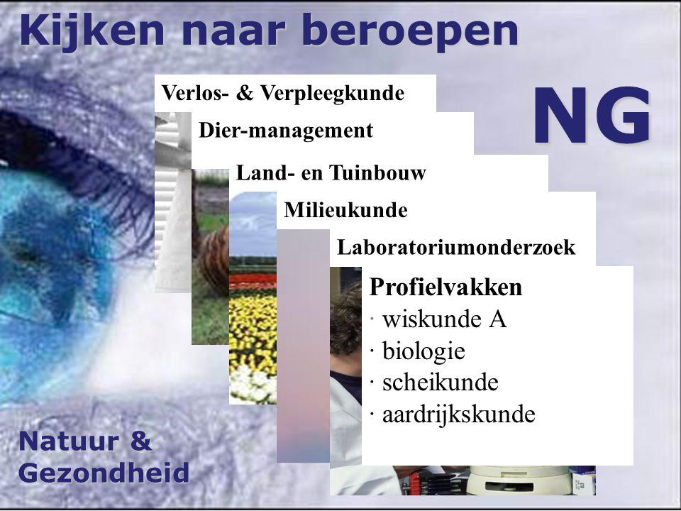 NG Kijken naar beroepen Profielvakken · wiskunde A · biologie