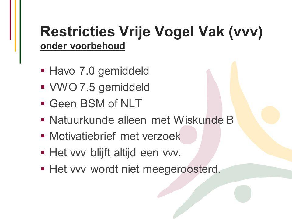 Restricties Vrije Vogel Vak (vvv) onder voorbehoud