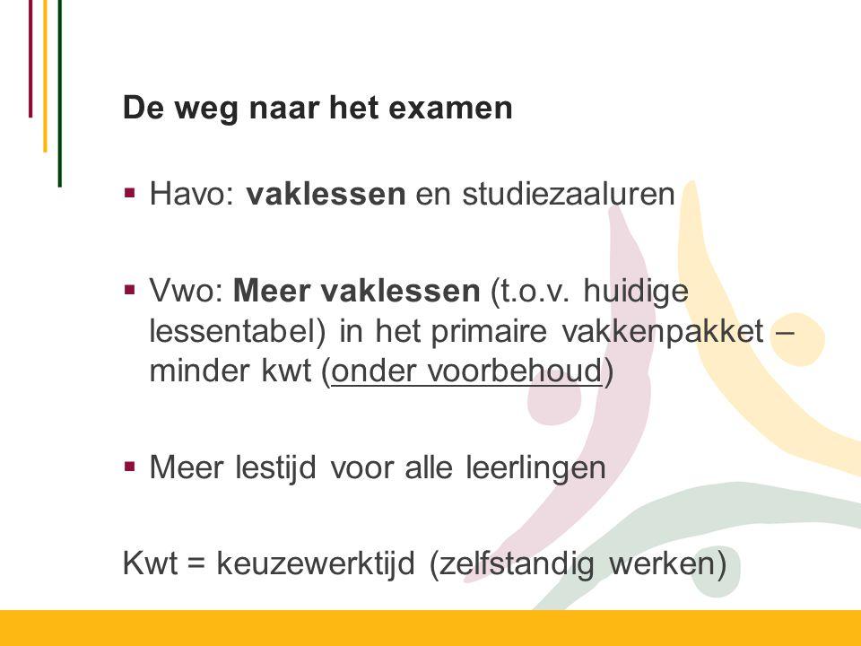 De weg naar het examen Havo: vaklessen en studiezaaluren.
