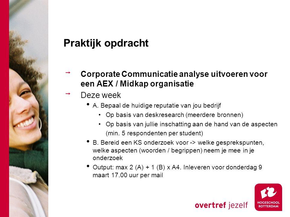 Praktijk opdracht Corporate Communicatie analyse uitvoeren voor een AEX / Midkap organisatie. Deze week.