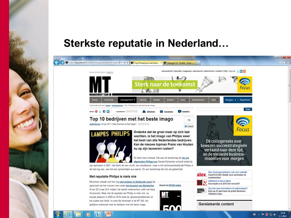 Sterkste reputatie in Nederland…