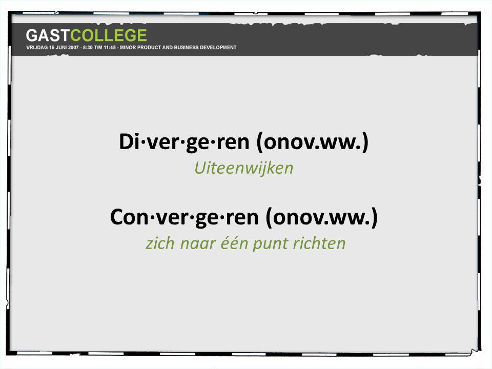 Di·ver·ge·ren (onov.ww.)