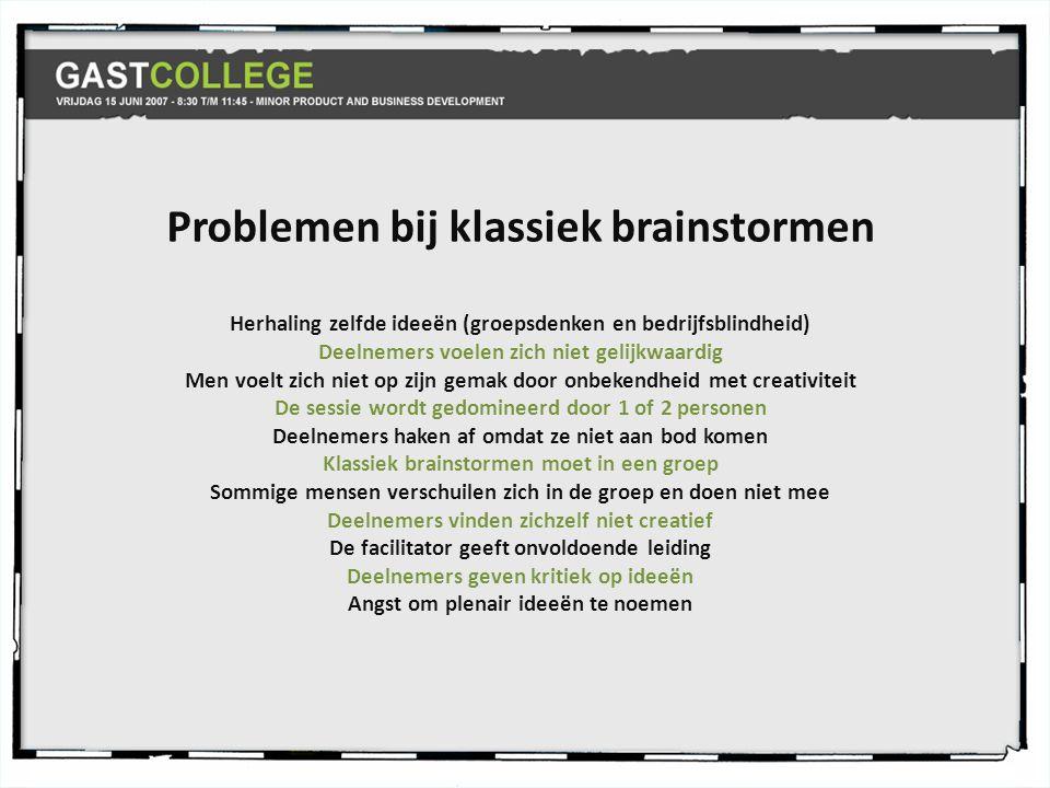 Problemen bij klassiek brainstormen