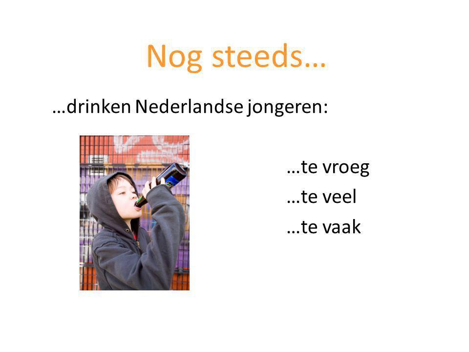 Nog steeds… …drinken Nederlandse jongeren: …te vroeg …te veel …te vaak