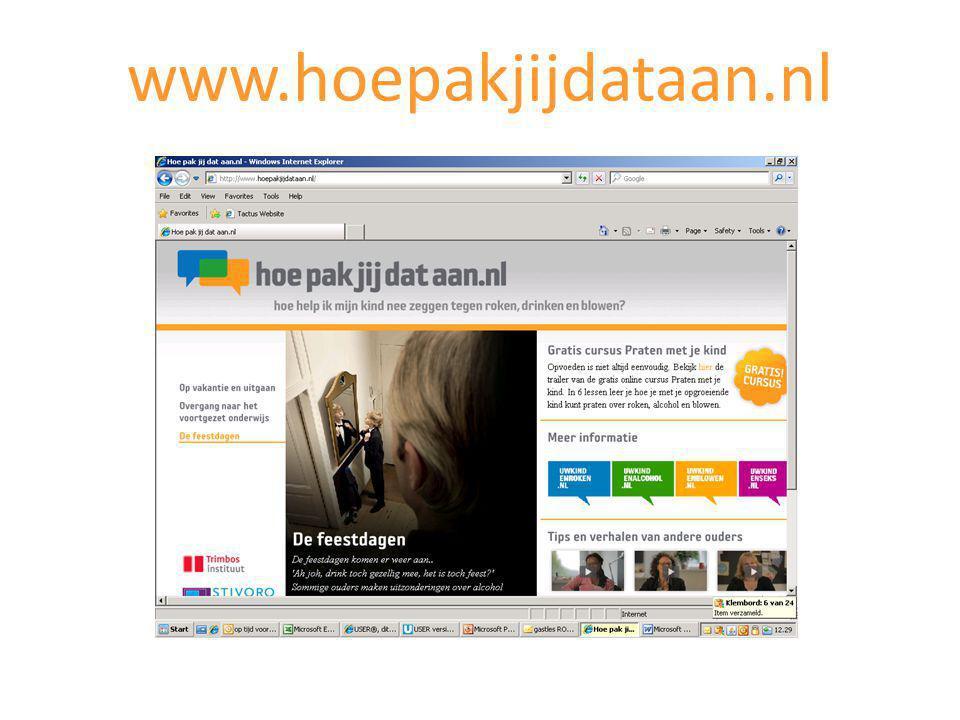 www.hoepakjijdataan.nl Als u verder wilt lezen over alcohol en opvoeding, dan kunt u de website uwkindenalcohol.nl bekijken.