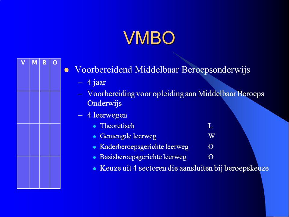 VMBO Voorbereidend Middelbaar Beroepsonderwijs 4 jaar