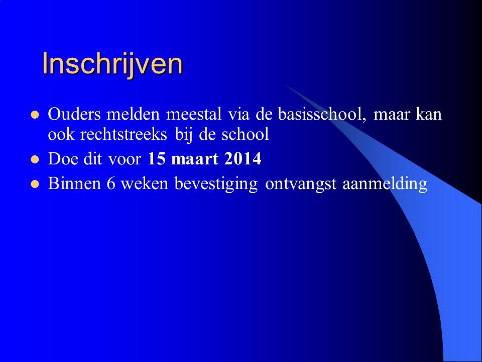Inschrijven Ouders melden meestal via de basisschool, maar kan ook rechtstreeks bij de school. Doe dit voor 15 maart 2014.